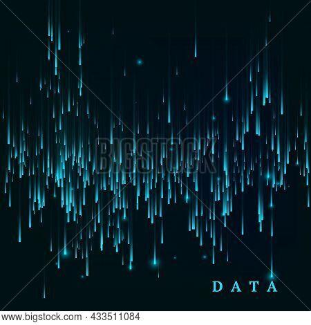Random Generated Data Block Stream. Abstract Matrix. Big Data Visualisation. Sci-fi Or Futuristic Ab