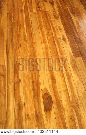 Wood Decking on yacht floor. Wooden ship deck