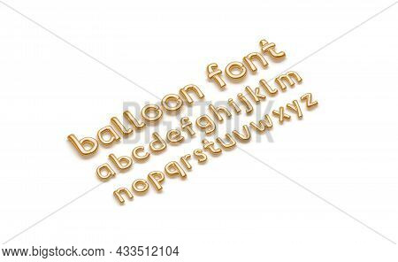Inflated Gold Balloon Font With Lowercase Alphabet, Side View, 3d Rendering. Golden Decoration Fount
