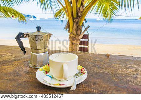 Drinking Coffee On Aow Yai Beach Paradise Koh Phayam Thailand.