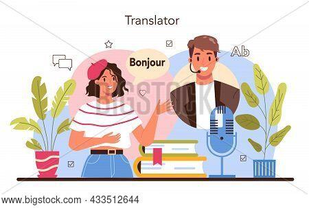 Translator Concept. Linguist Translating Document, Books And Speach.