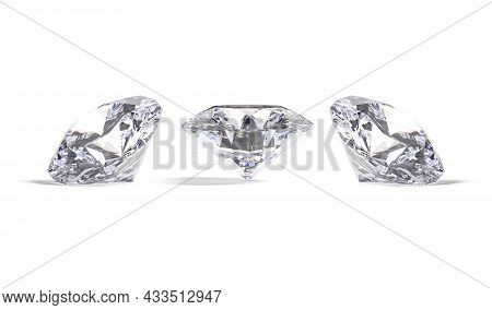 Blank Sparkle Diamond Jewel Mockup, Front And Side View, 3d Rendering. Empty Expensive Rhombus Brill