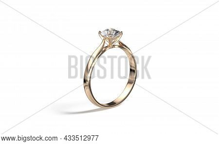 Blank Gold Ring With Diamond Mockup Stand, Side View, 3d Rendering. Empty Round Carat Jewellery For