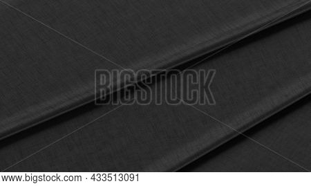 Blank Black Folded Fabric Material Mock Up, Top View, 3d Rendering. Empty Tissue Or Clothe Canvas Te
