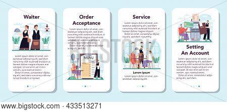 Waiter Mobile Application Banner Set. Restaurant Staff In The Uniform