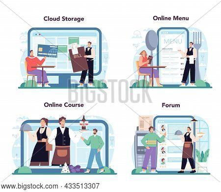 Waiter Online Service Or Platform Set. Restaurant Staff In The Uniform