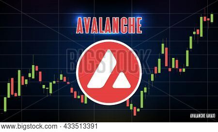 Abstract Futuristic Technology Background Of Avalanche (avax) Price Graph Chart Coin Digital Cryptoc