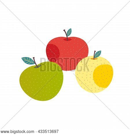Yellow, Green, Red Whole Apples Cute Cartoon Vector Set Icon. Fresh Apple Fruits Minimal Flat Color