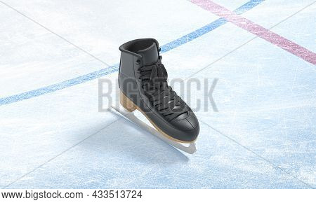 Blank Ice Rink Surface With Black Skate Background Mockup, Top View, 3d Rendering. Empty Cold Arena