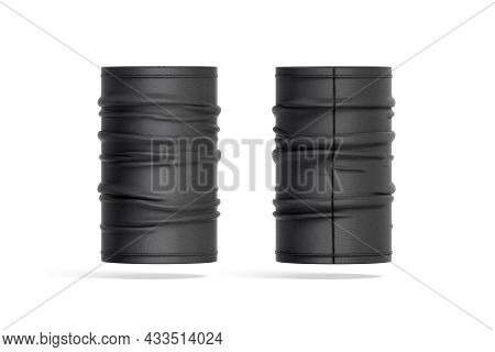 Blank Black Unfolded Neck Gaiter Mockup Front And Back View, 3d Rendering. Empty Protection Buff Cov