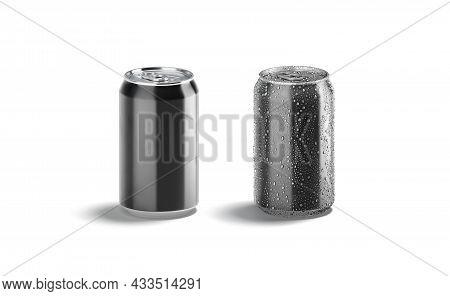 Blank Black Aluminum 330 Ml Soda Can Mockup Set, Front View, 3d Rendering. Empty Steel Beer Bank Wit