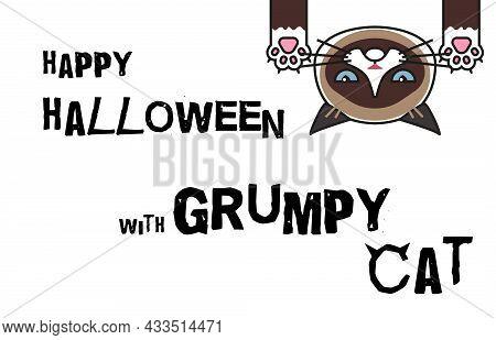 Halloween Banner. Happy Halloween With Grumpy Cat