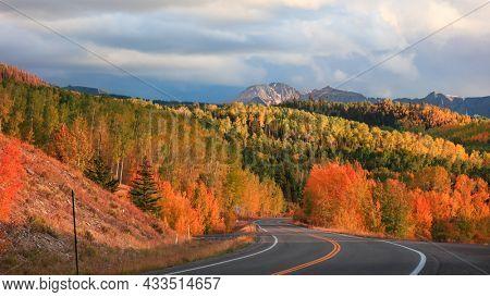Bright fall foliage along San Juan skyway scenic byway in Colorado