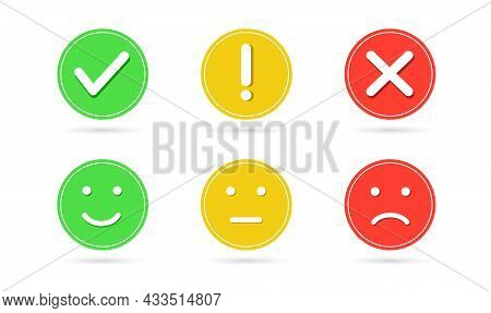 Green Check Mark And Red Cross Button. Exclamation Mark. Face Smile Icon Positive, Neutral And Negat