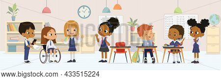 Cheerful Diverse Kids In School Uniform Talking Sitting At Tables Enjoying Lesson Inclusion Educatio
