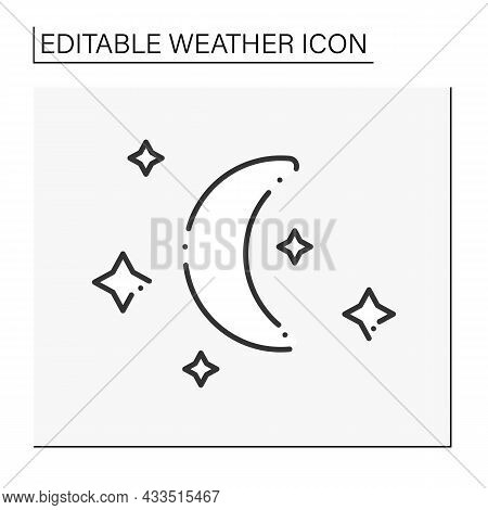 Night Line Icon. Starry Night With Moon Without Clouds.meteorology Clear Sky. Moonlight. Cloudless N