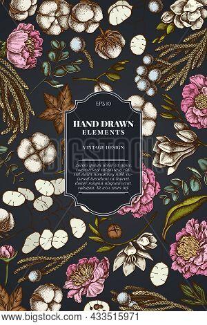 Card Design On Dark Background With Ficus, Eucalyptus, Peony, Cotton, Freesia, Brunia Stock Illustra