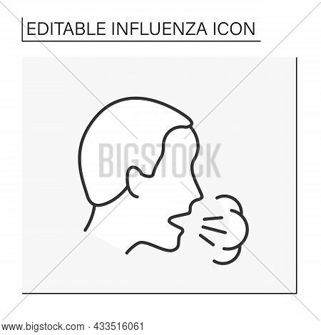 Sick Line Icon. Shortness Of Breath. Man Has Problems With Breathing. Asthma Symptoms. Healthcare. I