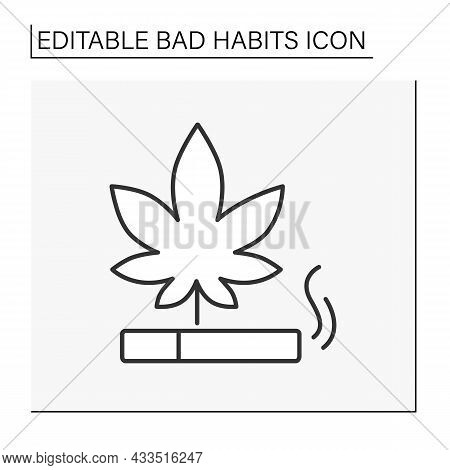 Drug Line Icon. Marijuana Smoking. Smoke Weed In Cigarettes.narcotic.bad Habits Concept. Isolated Ve