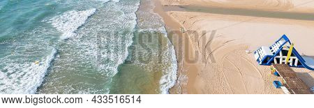 Panoramic Drone Point Of View Sandy Beach Of Mil Palmeras At Early Morning, Water Attractions On San