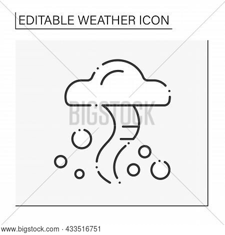 Tornado Line Icon. Heavy Wind. Typhoon. Spiral Storm. Windstorm And Hurricane.natural Disaster. Weat