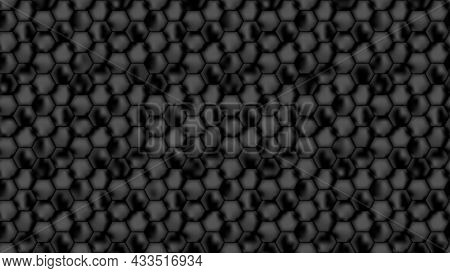 Seamless Background From Black Honeycombs. Background  From Dark Repeating Hexagons For Banner Desig