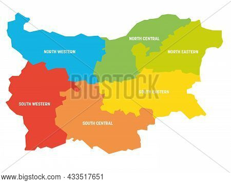 Colorful Political Map Of Bulgaria Divided By Color Into Regions. Simple Flat Vector Map With Labels