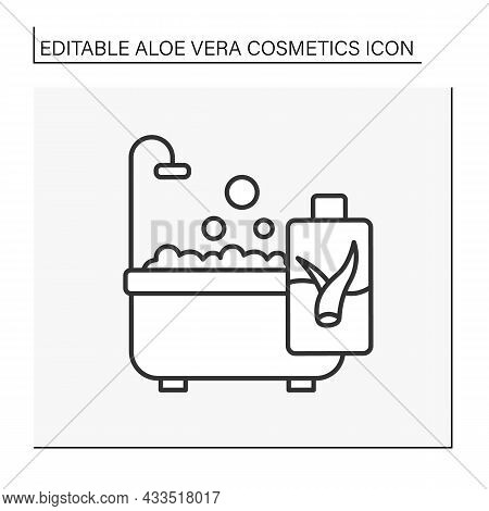 Beauty Procedure Line Icon. Bath And Shower Cosmetics With Aloe Vera Extract. Soap For Deep Cleaning