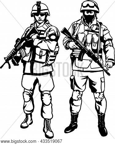 Army Soldiers With Rifle - Vector Stock Collection.