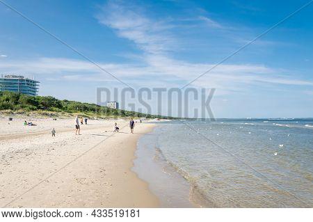 Międzyzdroje, Poland -05.09.2021 - Beach In Miedzyzdroje