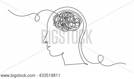 Continuous One Line Drawing Of Man Head With Messy Thoughts Worried About Bad Mental Health. Problem