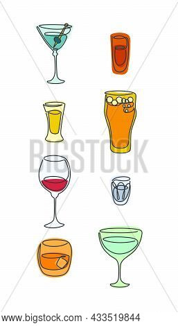 One Line Drawing Martini Rum Tequila Beer Red Wine Vodka Whiskey Vermouth Glass On White Background.