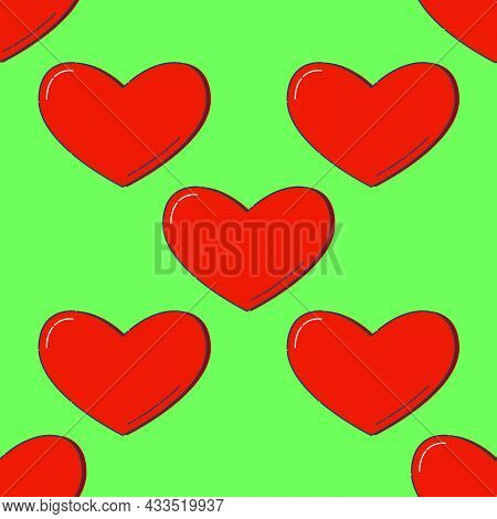 Line Art Seamless Pattern In The Form Of A Red Heart On Gree Background. Romance Graphic Texture. Ho