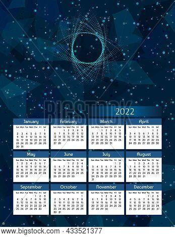 Vertical Futuristic Yearly Calendar 2022, Week Starts On Sunday.  Annual Big Wall Calendar Colorful