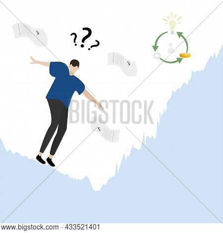 Business Concept. Man Loses Money, Shares Fall. The Business Plan Saves, The Idea Of The Shares Begi