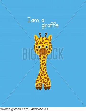 Cute And Sweet Giraffe. Vector Illustration. Can Be Used For Printing On T-shirts, Baby Clothes, Fas