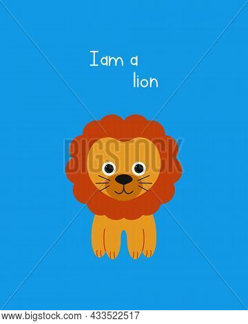 Drawn Vector Illustration Of A Cute Funny Lion. Isolated Objects. Can Be Used For Printing On T-shir
