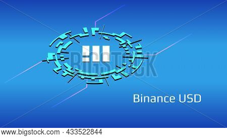 Binance Usd Busd Isometric Token Symbol In Digital Circle On Blue Background. Cryptocurrency Coin Ic