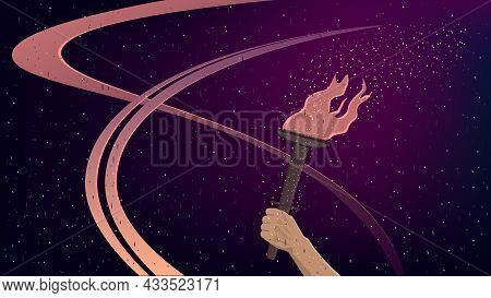 Burning Torch In Hand In Cartoon Style On Dark Background. Sport Banner. Vector Illustration.
