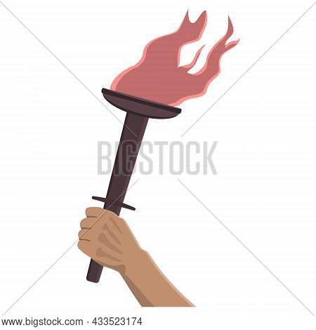 Burning Torch In Hand In Cartoon Style Isolated On White. Design Element. Vector Illustration.