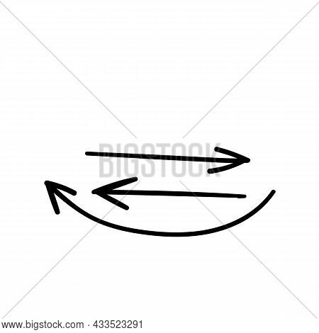 Arrows Handdraw Set. Doodle Handdraw Vector Illustration