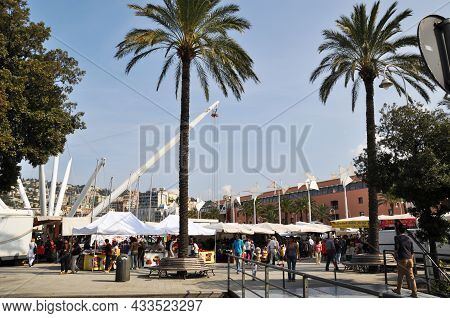 View Of The Shopping Street With Tents And Tall Palms. Sharm El Sheikh Old Market. September 10, 201