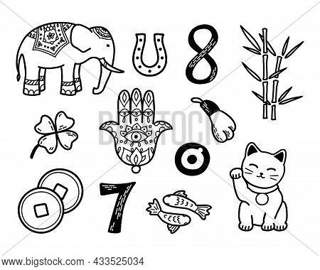 Good Luck Symbols Set. Asian Talismans And Charms Contour Vector Illustration. Symbols Of Success An