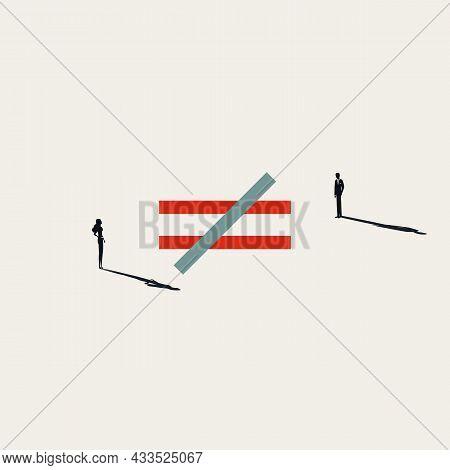 Business Gender Inequality Vector Concept. Symbol Of Unfair Treatment, Discrimination. Minimal Illus
