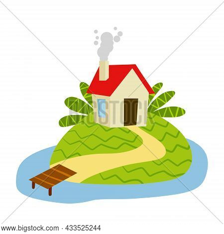 Village House With Marina Or Pier. Home On Green Hill And Road. Flat Cartoon Illustration. Rural Whi