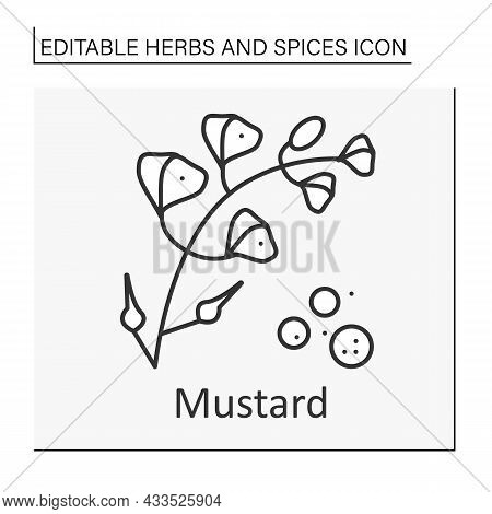 Mustard Line Icon. Hot-tasting Seasoning.strong-smelling And Strong-tasting Herb For Cooking. Additi