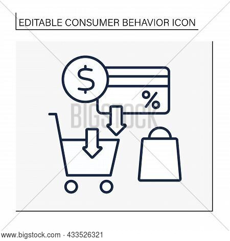 Discount Card Line Icon. Cashback From Purchases. Shopping Cart. Customer Behavior Concept. Isolated