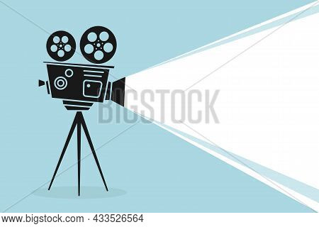 Detailed Silhouette Of Vintage Cinema Projector Or Camcorder On A Tripod. Cinema Background. Old Fil