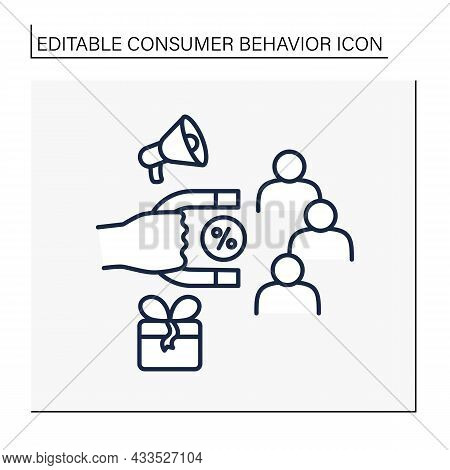 Discount Magnet Line Icon. Attracting New Customers Into The Store Network. Discounts For Clients. P