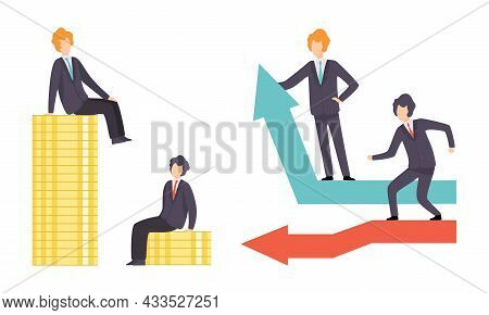 Business And Career Competition With Man Office Worker Having Rivalry Moving Up And Down Sitting On